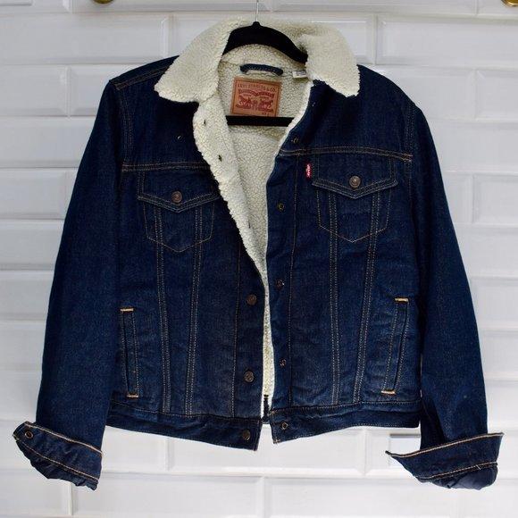 Levi's Faux Fur Denim Trucker Jean Jacket Women L